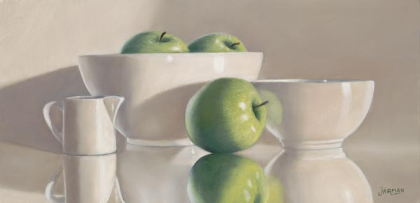 White Dishware/Green Apples