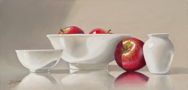 White Dishware/Red Apples